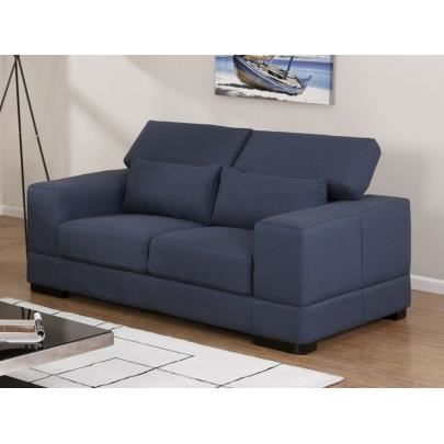 canap 2 places tissu salto bleu nuit achat vente canap sofa divan cdiscount. Black Bedroom Furniture Sets. Home Design Ideas
