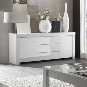 BUFFET - BAHUT  Buffet bahut blanc laqué 2 portes 3 tiroirs design