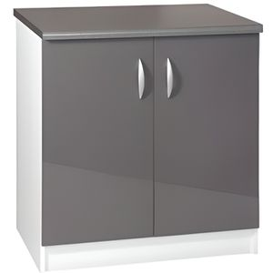 meuble cuisine bas 80 cm 2 portes oxane gris achat. Black Bedroom Furniture Sets. Home Design Ideas