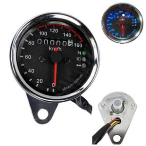compteur moto ATV R/étro/éclairage LED Compteur de vitesse double compteur kilom/étrique jauge compteur 0-160 km//h Noir Aramox Compteur de vitesse