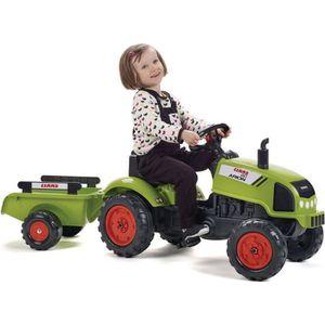 TRACTEUR - CHANTIER FALK Tracteur à pédales Claas avec remorque