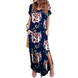 ROBE Casual Loose Women Pocket robe longue à manches co