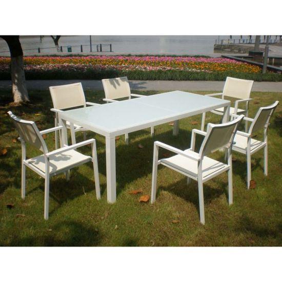 Salon de jardin Canaries en aluminium et verre - Achat ...