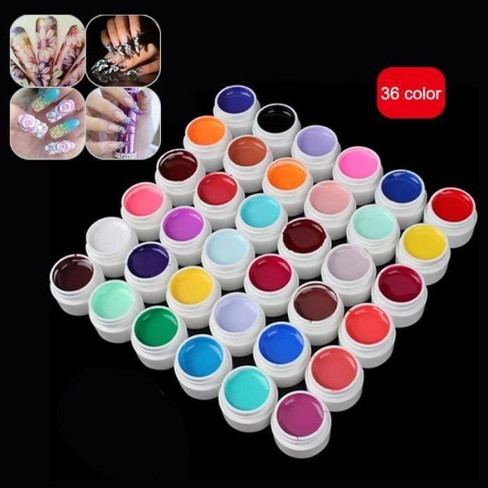 36pcs Pur Gel UV couleurs Nail Art Glitter Colle vernis à ongle