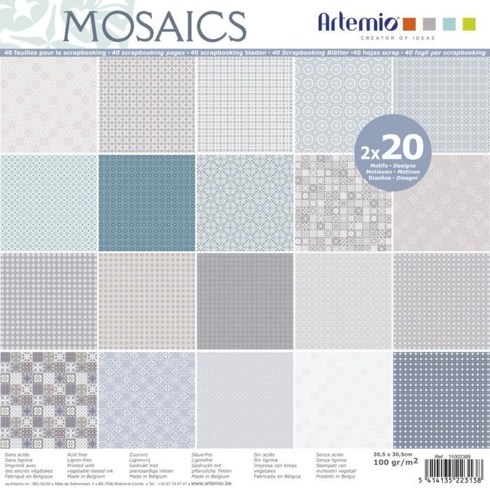 40 Feuilles Papiers Scrapbooking 30.5 x 30.5 - Assortiment Papier Carreau Ciment - Bloc Papier - Papier Mosaïque