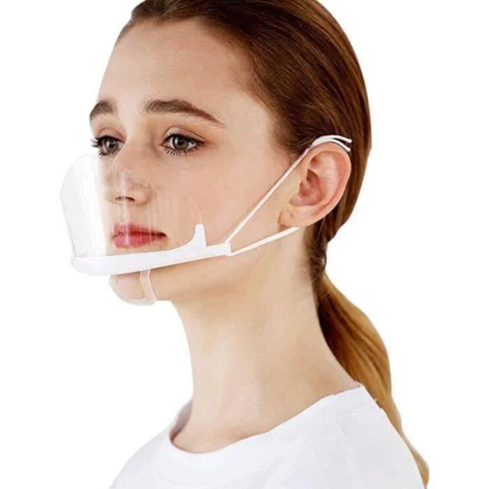 60pcs Visière de Protection Réutilisable, Masque Transparent Visage Anti-Salive Anti-buée Couvre Bouche et Nez Facial Protection