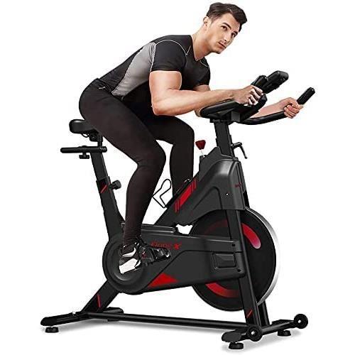 Vélo d'Appartement Fitness Silencieux Écran LCD, avec Siège, Poignée et Résistance Réglables, Porte-Bouteille au Domicile, 120KG