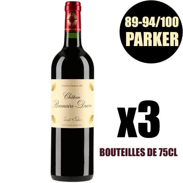 X3 Château Branaire-Ducru 2015 75 cl AOC Saint-Julien Rouge 4ème Cru Classé Vin Rouge