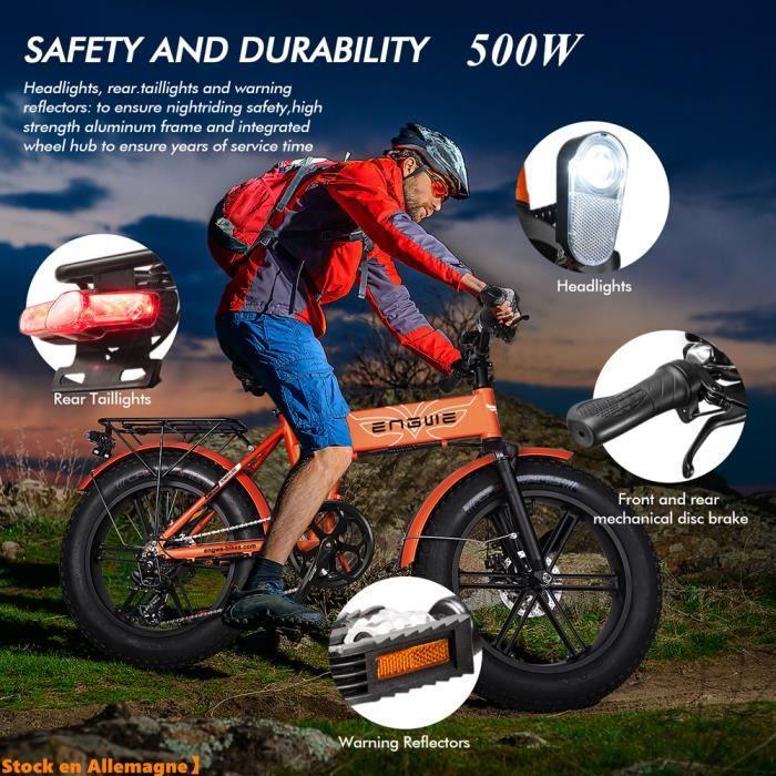 2020 Nouveauté ENGWE 500W Vélo électrique 20 pouces e-bike gros pneu montagne plage vélos de neige pour adultes (Orange)