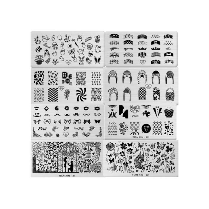 8 pièces professionnel bricolage en acier inoxydable modèles Nail Art outils plaques MANICURE SET - MANICURE KIT - PEDICURE