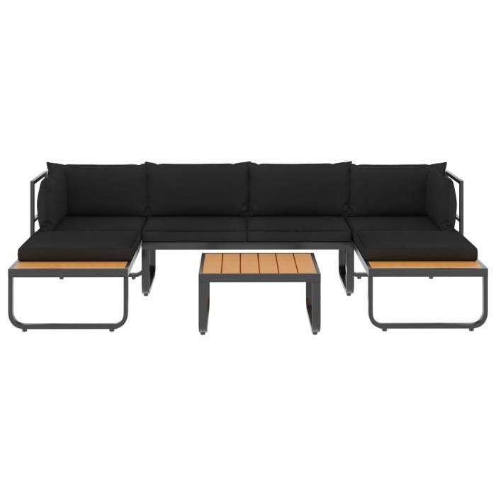 Haute qualité Canapés d'angle de jardin 4 pcs et coussins - Sofa Divan Canapé Confortable Banquette de jardin Aluminium et WPC