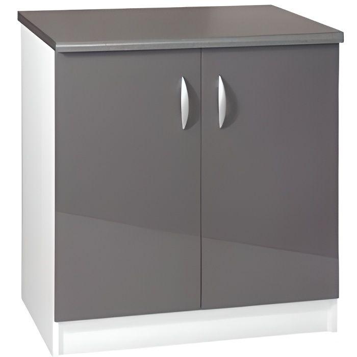 Meuble cuisine bas 80 cm 2 portes OXANE gris