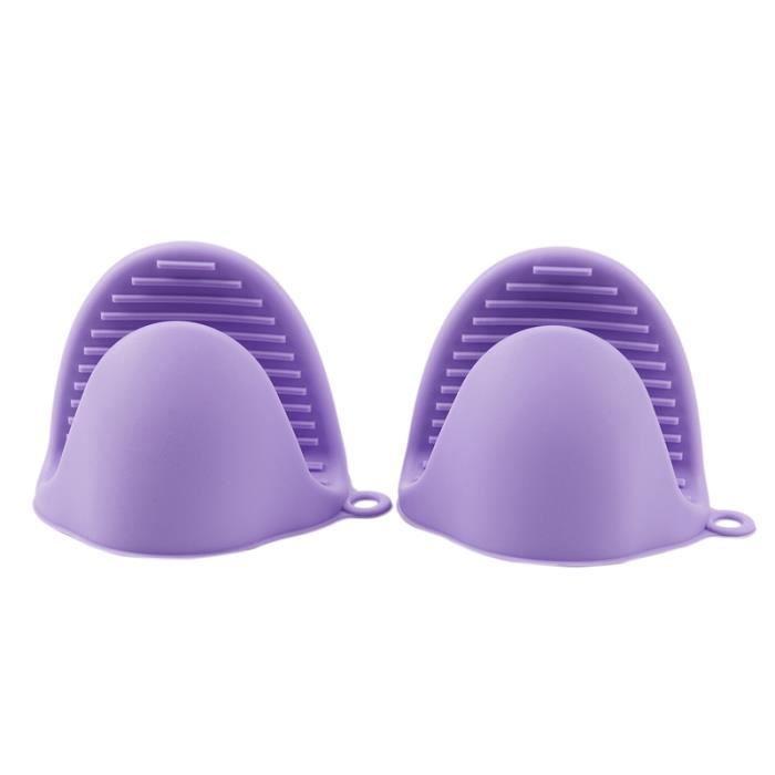 2x four Mini mitaines Silicone résistant à la chaleur Anti brûlure gants pour cuisson pincement poignées porte Pot et Type Purple #F