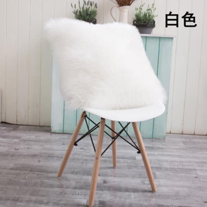 Housse de coussin,Housse de coussin blanc-gris pur,40-45-50cm,fausse fourrure sur un côté,coussin - Type WHITE-40cm single fur