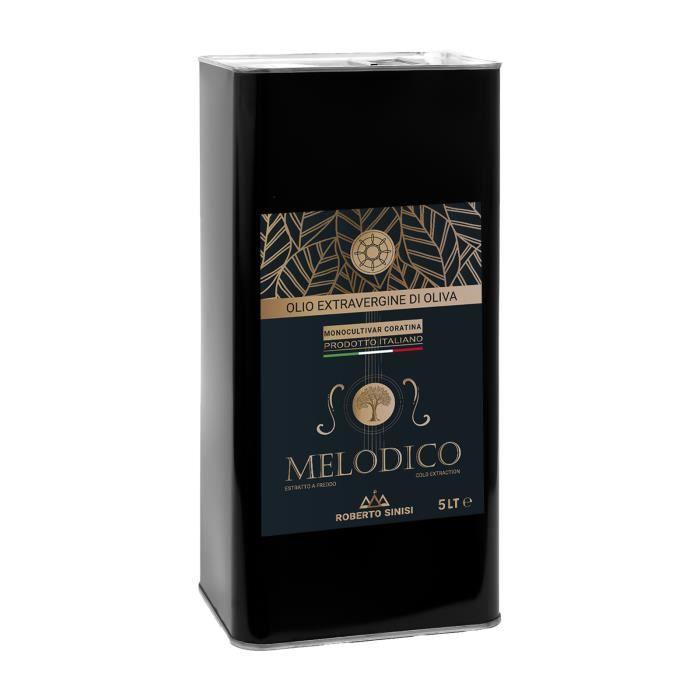 huile d'olive extra vierge produite en Italie. Huile d'olive extra vierge pressée à froid en bidon de 5 litres. Melodico Madrepuglia