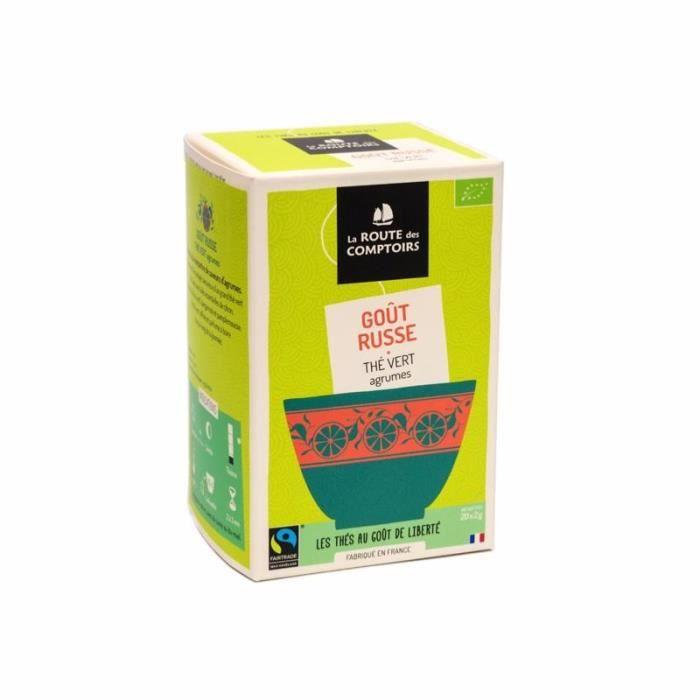 Thé Vert Bio goût Russe - La Route des Comptoirs - Boite de 20 sachets