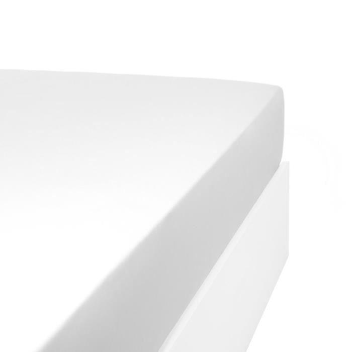 LINANDELLE - Drap housse uni coton Percale 200 fils DESIREE - Blanc - 140x200 cm