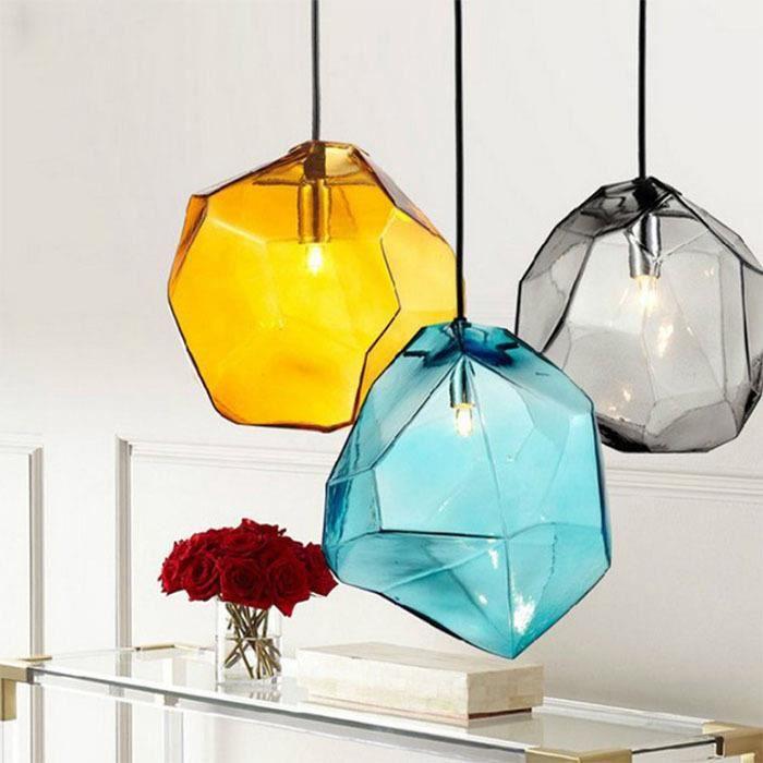 MDER Lampe Suspension Plafonnier Abat-jour Blue Lustre en verre pierre Glaçon forme Lumière salle à manger salon chambre bar