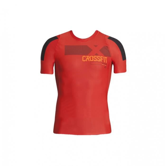 T-shirt compression de fitness/training Reebok Rcf Crossfit Ss Comp Rouge