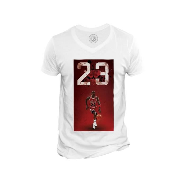 T-shirt Homme Col V Michael Jordan 23 Chicago Bulls Basket Superstar GOT