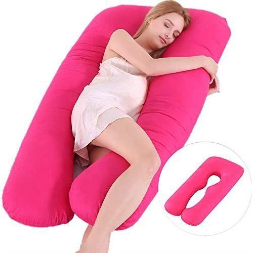 Coussin de Grossesse de maternité pour Dormir et d'Allaitement Multifonctionnel en Forme de U(rose)