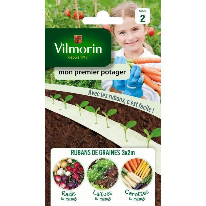 VILMORIN Ruban mélange graines Mon Premier Potager : carottes, radis, laitues à couper - 3 x 2 m