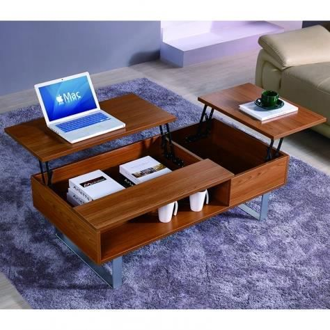table basse multifonction en bois mira achat vente table basse table basse multifonction e. Black Bedroom Furniture Sets. Home Design Ideas