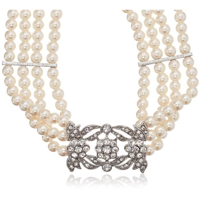 Four Row Statement Simulated Crystal Pearl Strand Necklace IY5IW
