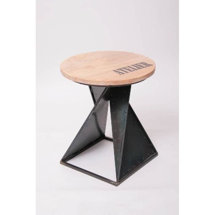 tabouret design industriel bois et m tal co achat vente tabouret bois m tal soldes. Black Bedroom Furniture Sets. Home Design Ideas