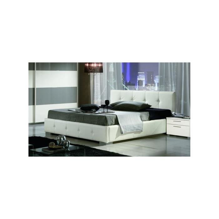lit design capitonn banas 140cmx190cm avec matelas memoire sans sommier achat vente lit. Black Bedroom Furniture Sets. Home Design Ideas