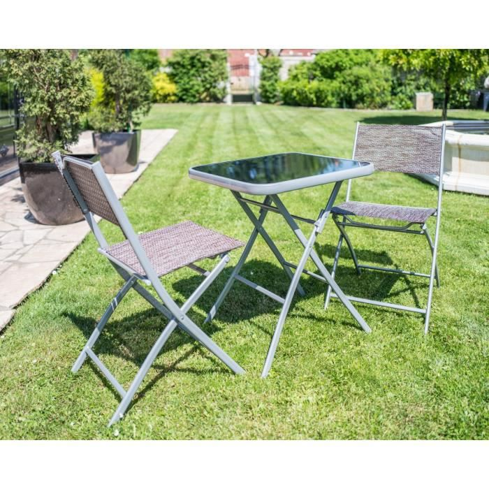Ensemble pliable Table de jardin + 2 chaises Carry taupe cet ...