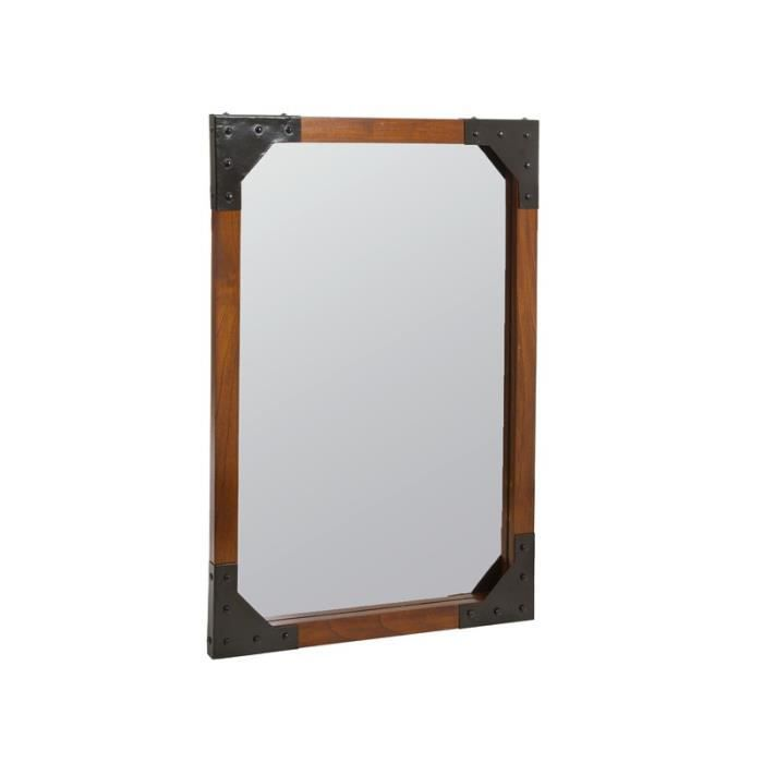 Miroir mural en bois et m tal collection franklin for Collection miroir