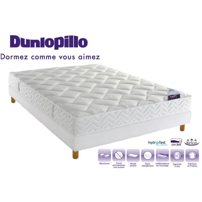 ensemble sommier cali matelas dunlopillo latex a rotex 17cm biportance 160x200 ferme. Black Bedroom Furniture Sets. Home Design Ideas