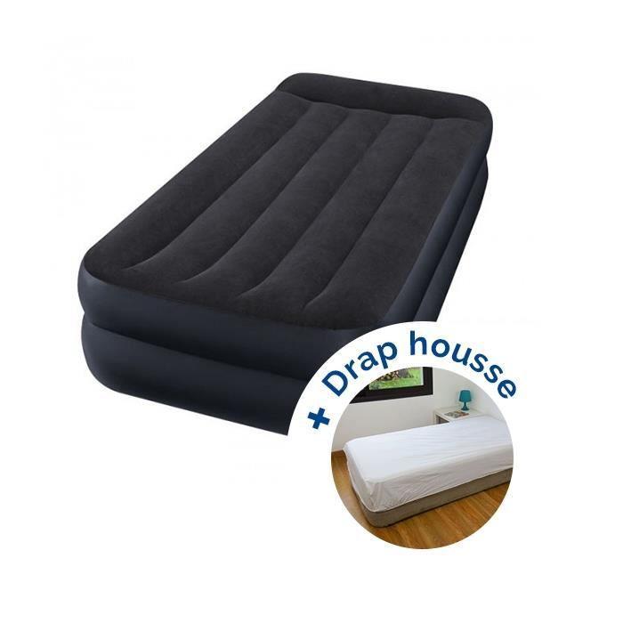 Pack Matelas Gonflable Intex Rest Bed Fiber Tech 191 X 99 X 42 Cm Drap Housse