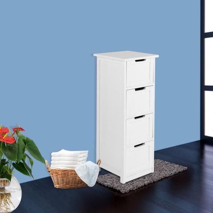 colonne Blanc de Armoiremeuble tour de Tiroir bois Étagère4 LESHP salle en rangement bain vn80OyNmPw