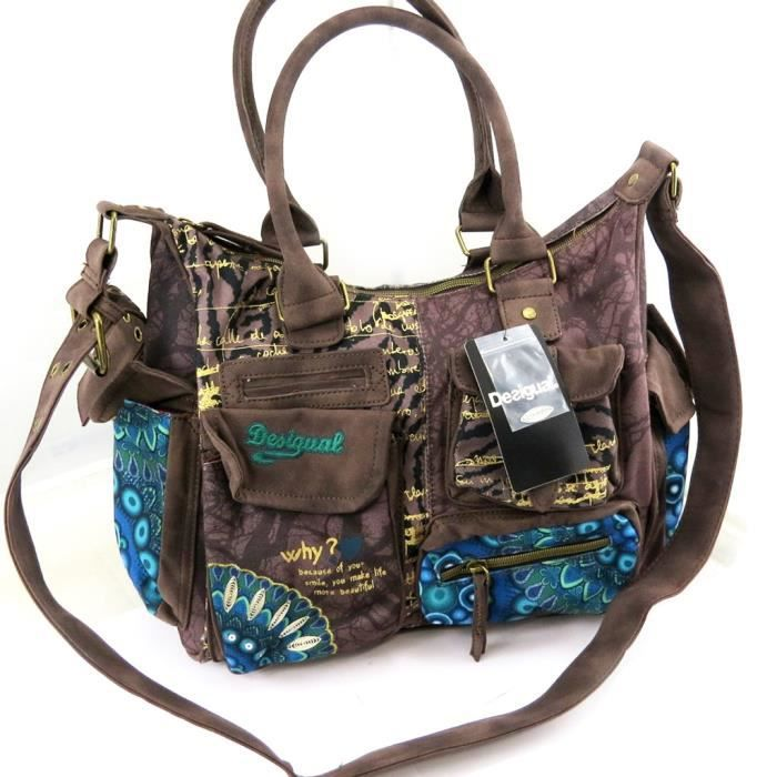 sac besace desigual marron turquoise marron achat vente besace sac reporter. Black Bedroom Furniture Sets. Home Design Ideas