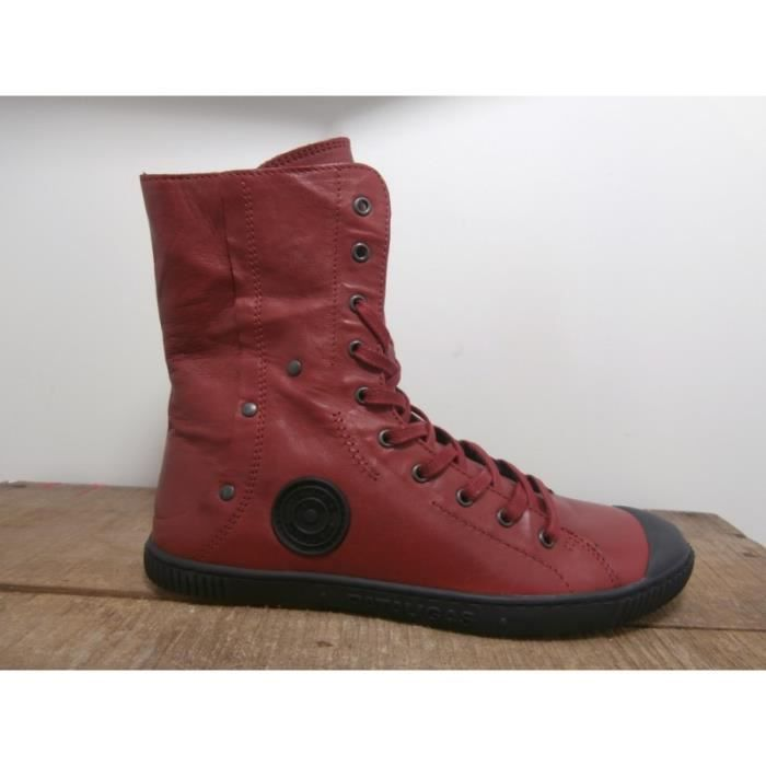 Boots bottines pataugas biana rouge rouge - Achat / Vente bottine