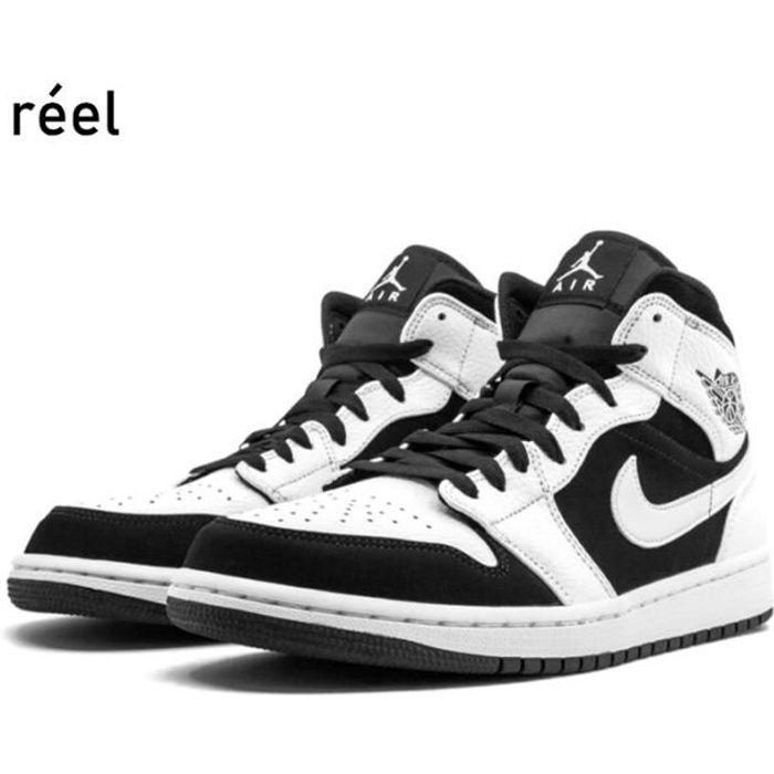 """Air Jordan 1 Mid""""White-Black""""554724-113 Blanc - Cdiscount Chaussures"""