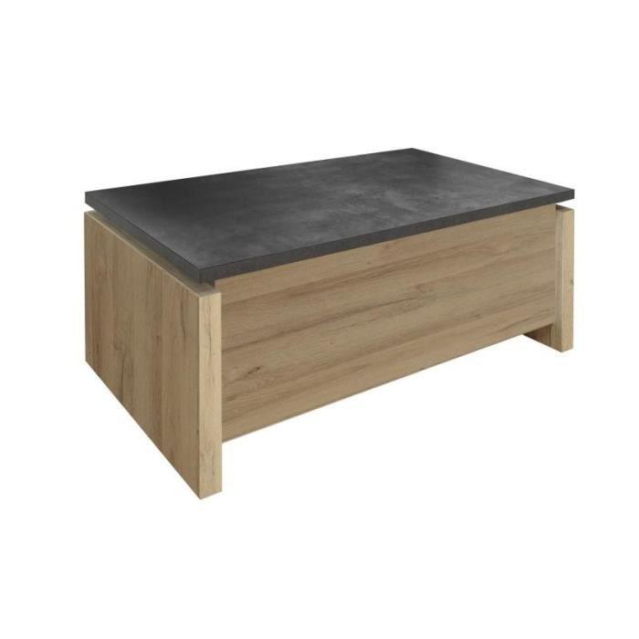 TABLE BASSE Table basse relevable Bois/Béton ciré - NOVA - L 1