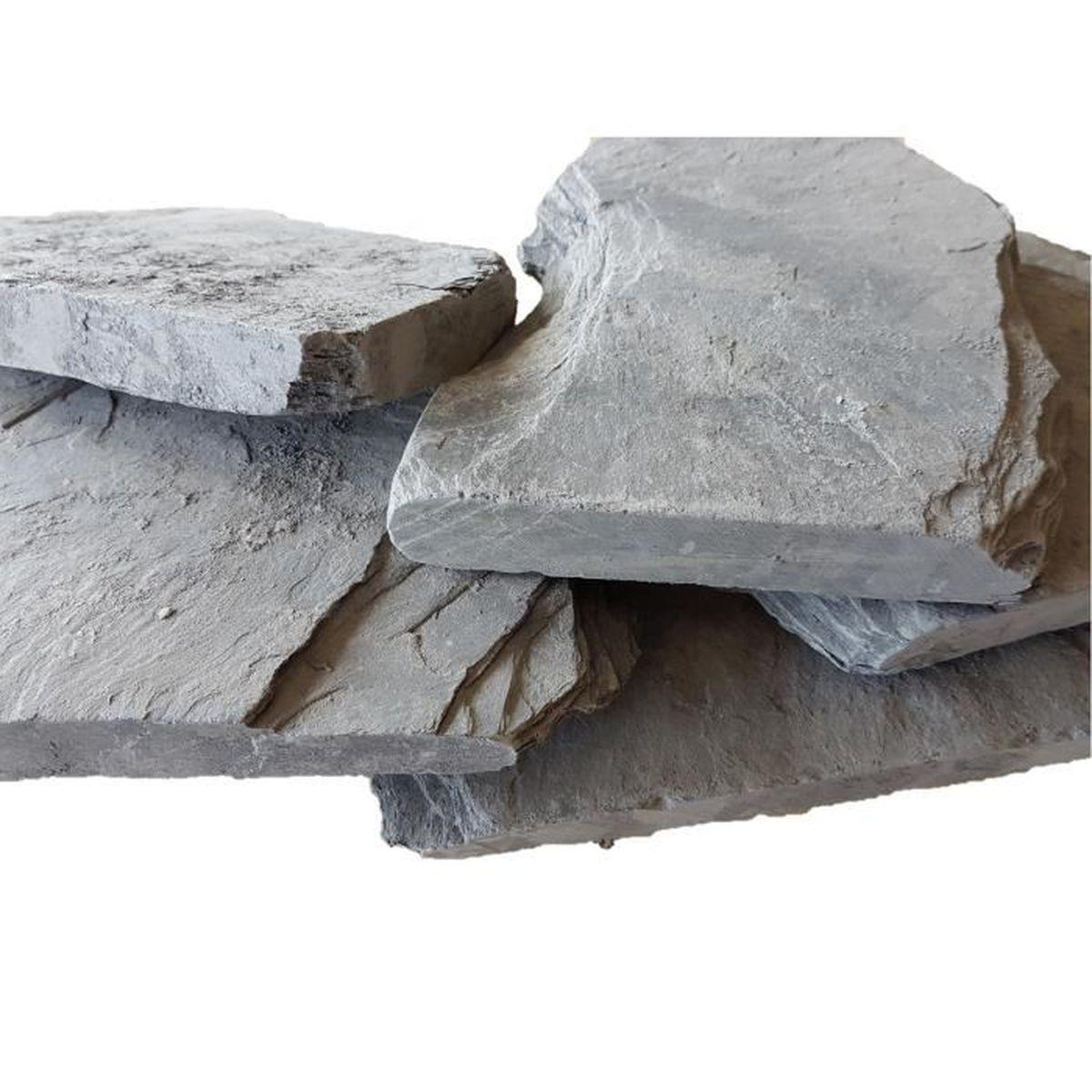 Dalle Ardoise 100 X 30 25 kg galets d'ardoise mosellane 150-300 mm bord découpé