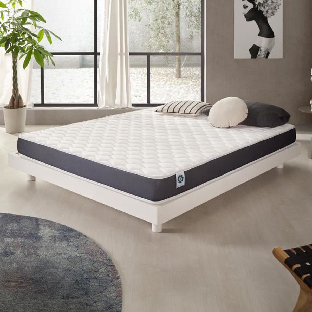 matelas ergolatex 90x200 cm mousse blue latex lit adulte enfant achat vente matelas cdiscount. Black Bedroom Furniture Sets. Home Design Ideas