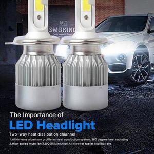 ALLUMAGE AUTO DES FEUX 2PCS COB C6 H4 72W 8000LM LED phare de voiture Kit
