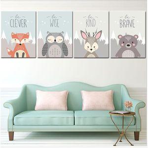TABLEAU - TOILE Set de 4 Posters pour Chambre d'enfant, Poster Ani