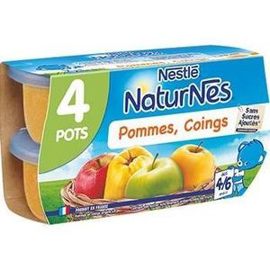 COMPOTE DESSERT FRUITÉ NESTLÉ Naturnes Pommes coings - 4x130 g - Dès 4/6