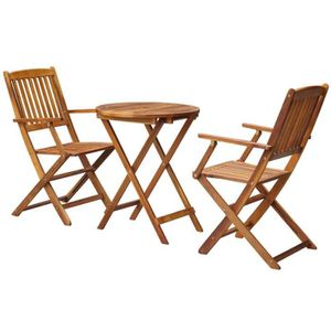 Salon de jardin bois table ronde