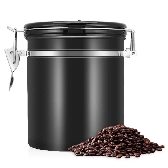 1.5L 304 en acier inoxydable via Sealed Design boîte de stockage de récipient de grains de café étanche à l'air peut noir
