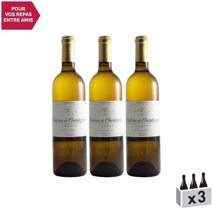 Château De Chantegrive Blanc 2016 - Lot de 3x75cl - Appellation AOC Graves - Vin Blanc de Bordeaux - Cépages Sémillon, Sauvignon