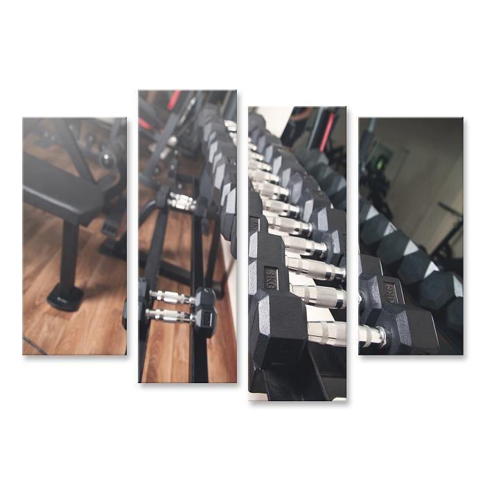Tableau sur toile Haltères en métal pour la musculation en salle de sport. Taille: 130x80cm - 4 Pièces