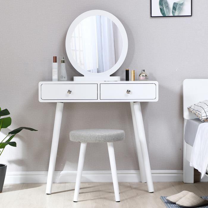 80 x 40 x 125 cm Coiffeuse scandinave , Table de Maquillage, 2 tiroirs, miroir rond, Blanc