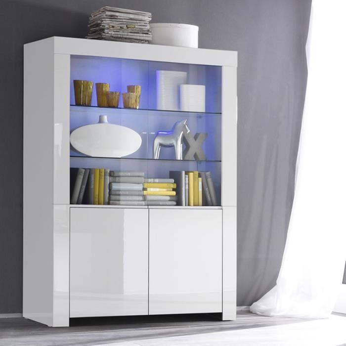 Vaisselier blanc laqué design TRIPOLI Avec éclairage